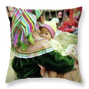 Flower Hmong Mother And Baby 02 Throw Pillow