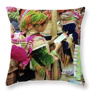 Flower Hmong Mother And Baby Throw Pillow