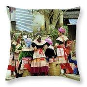 Flower Hmong Women 02 Throw Pillow