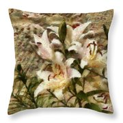 Flower - Lily - White Lily Throw Pillow