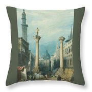 flower market in Vicenza Throw Pillow