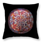 Flower Of Life Copper Lightmandala Throw Pillow