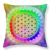 Flower Of Live - Rainbow Lotus 2 Throw Pillow