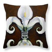 Flower Of New Orleans White Calla Lilly Throw Pillow by Judy Merrell