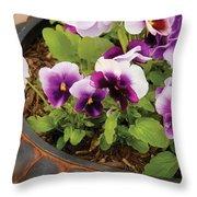 Flower - Pansy - Purple Pansies Throw Pillow