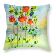 Flower Patch With Butterfly Throw Pillow
