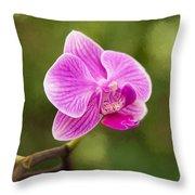 Flower - Pink Orchids Throw Pillow