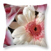Flower Pink-white Throw Pillow