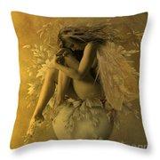 Flower Pot Fairy Throw Pillow