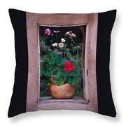 Flower Pot In Window Throw Pillow