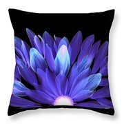 Flower Rise - Purple On Black Throw Pillow