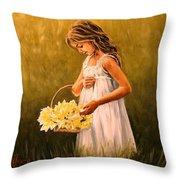 Flower S Basket Throw Pillow