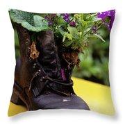 Flower Shoe Pot Throw Pillow