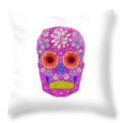 Flower Skull 2 Throw Pillow