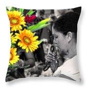 Flower Stall Throw Pillow