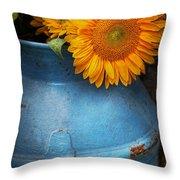 Flower - Sunflower - Little Blue Sunshine  Throw Pillow