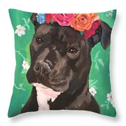 Flower The Pitbull Throw Pillow