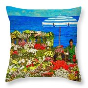 Flower Vendor In Sea Point Throw Pillow