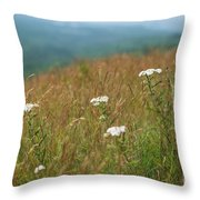 Flower View Of Mountains Throw Pillow