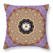 Flower With Wood Embroidery Throw Pillow