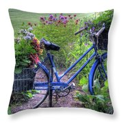 Flowered Bicycle Throw Pillow