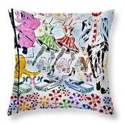 Flowered Mural Throw Pillow