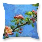 Flowering Apple Branch Throw Pillow
