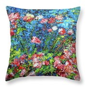 Flowering Shrub In Pink On Bright Blue 201676 Throw Pillow