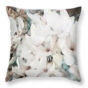 Flowering Star Magnolia Throw Pillow