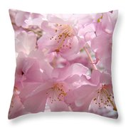 Flowering Tree Art Prints Spring Pink Blossom Flowers Baslee Throw Pillow