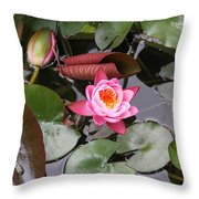 Flowering Water Lily Throw Pillow