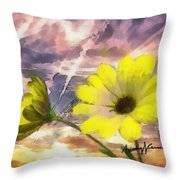 Flowers Against A Busy Sky Throw Pillow