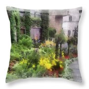 Flowers Along The Pathway Throw Pillow