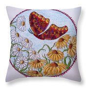 Flowers And A Butterfly Throw Pillow