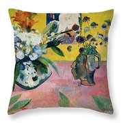 Flowers And A Japanese Print Throw Pillow by Paul Gauguin