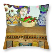 Flowers And Antique Chest Throw Pillow
