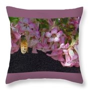 Flowers And Bees Throw Pillow