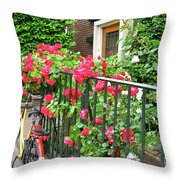 Flowers And Bikes Oh My Throw Pillow