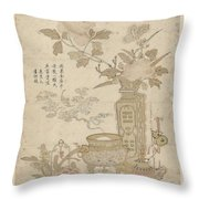 Flowers And Burning Censer, Anonymous Throw Pillow