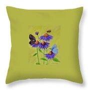 Flowers And Butterflies Throw Pillow