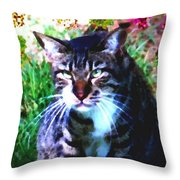 Flowers And Cat Throw Pillow