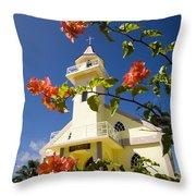 Flowers And Church On Takapoto Atoll Throw Pillow