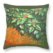 Flowers And Earth Throw Pillow