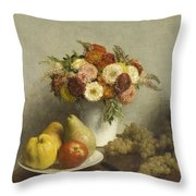 Flowers And Fruit 1865 Throw Pillow