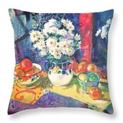 Flowers And Fruit In A Green Bowl Throw Pillow
