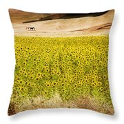 Flowers And Horses Near Setinil Spain Throw Pillow