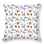 Flowers And Hummingbirds 1 Throw Pillow