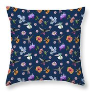 Flowers And Hummingbirds 2 Throw Pillow