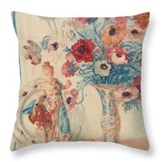 Flowers And Porcelain Throw Pillow