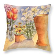 Flowers And Terra Cotta Throw Pillow